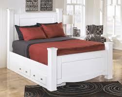 Weeki White Eastern King Poster Storage Bed for 59994 FurnitureUSA