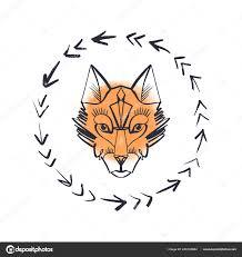 красивая тотем волк лиса акварель фон богемная хиппи иллюстрация