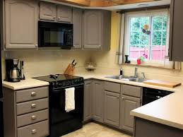image of painting laminate cabinets before and after