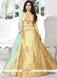 Lehenga Choli Designs Competent Beige Resham Work Silk Designer Lehenga Choli