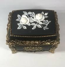 Antique beer barrel polka ceramic woman figurine music box sankyo japan *works. Splendid Ny New York Music Box Asian White Rose Jewelry Sankyo Japanese Signed Ebay