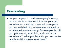 camping out by ernest hemingway ppt video online  3 pre reading as you prepare to hemingway s essay