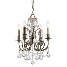 crystorama lighting group english bronze wood crystal mini chandelier