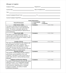 Employee Evaluation Form Example Free Word With Forms