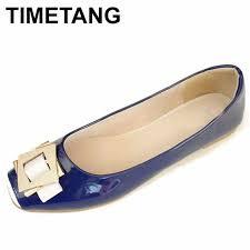 timetang sweet spring las shoes black office women flat shoes patent leather flats women big size