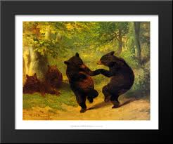 image is loading dancing bears 21x18 black wood framed art print