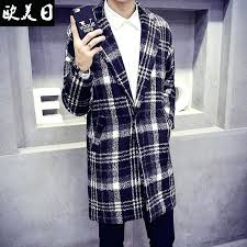 plaid coat mens whole winter trench men in the long section woolen style striped jacket from plaid coat mens fall winter wool