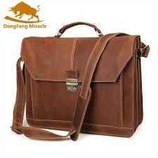 whole mens rare crazy horse leather portfolios bags male large genuine leather business briefcase laptop handbag messenger bag computer bags leather