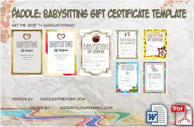 babysitting certificates free printable babysitting gift certificate 7 concepts