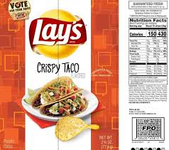 this updated nutrition facts label for lay s crispy taco flavored potato chips provides nutrition information in