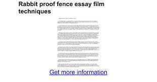 rabbit proof fence essay film techniques google docs