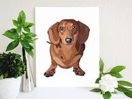 red dachshund art print doxie art dachshund decor doxie