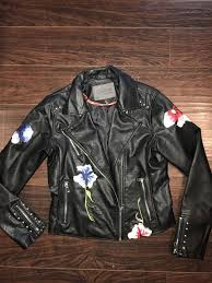 new womans ci sono faux leather embroidered motorcycle jacket coat medium