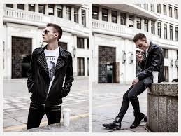 how to wear black embellished leather biker jacket white and black print crew