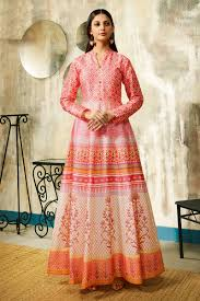 Cheap Designer Gowns Online Printed Pink Color Chanderi Fabric Wedding Wear Readymade Designer Gown