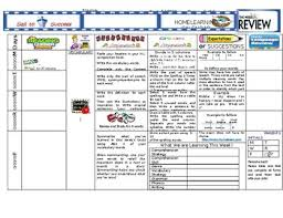 Home Learning Calendar Template