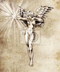 Fototapeta Skica Tetování Víla Anděl Nahé ženy