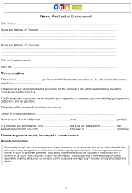 Nanny Contract Of Employment Template Download Printable Pdf