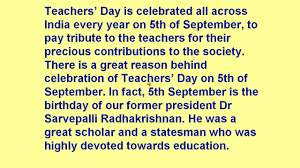 write a report on teachers day celebration in our school  short paragraph on teachers day important