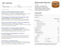 Google Displays The Nutritional Values Of Fast Food Meals