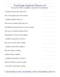 translating algebraic phrases a