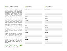 Sample Food Journal Template Sample Food Log Template Food And Mood Diary Mood Diary