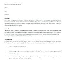 Ms Word Lesson Plans Basic Lesson Template Marzano Plan Doc Puntogov Co