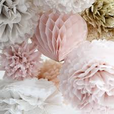 Hanging Pom Pom Decorations Dusty Pink Dusty Blush Tissue Paper Honeycomb Hanging Party