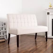 white dining bench. KSP Rand Fabric Dining Bench (Natural) White
