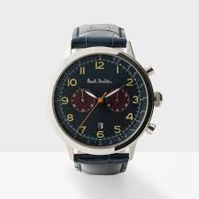 paul smith men s navy and petrol precision chronograph watch in gallery