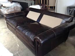 langston leather sofa sleeper 48 inches deep bottom cushions on