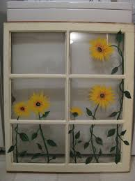 6 Pane Window Ideas Painted Sunflowers On Old Window My Projects Pinterest