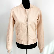 ci sono juniors light pink faux leather jacket size medium