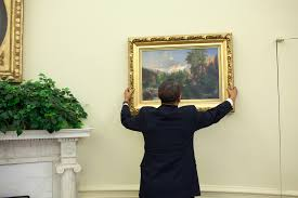 oval office paintings. File:Barack Obama Straightens A Painting In The Oval Office, May 10, 2010 Office Paintings