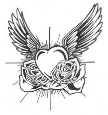 Hearts And Roses Coloring Pages Rose Heart Drawing With Wings