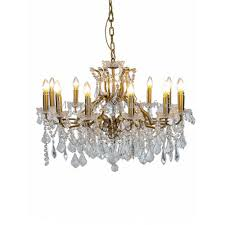 12 branch crystal chandelier gold