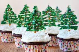 Chocolate Christmas Tree Cupcakes with Cream Cheese Frosting | Just a Taste