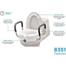 nova locking raised toilet seat with arms
