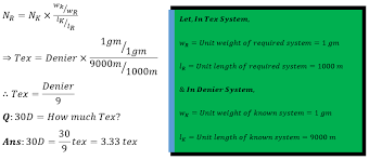 Conversion From Direct To Direct Denier To Tex System