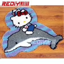 latch hook rug kits diy needlework unfinished crocheting rug yarn cushion mat cat with dolphin embroidery