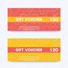 gift voucher template voucher design gift certificate in red and yellow vector ilration
