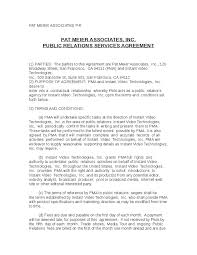 Contract Service Agreement Unique Public Relations Contract Agreement Public Relations Agreement