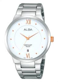 alba stainless steel dress watch for men as9877x silver