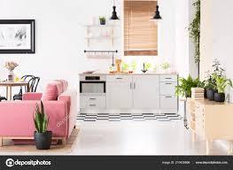 Echtes Foto Von Freiraum Küche Interieur Mit Schachbrettmuster Fußboden  Fenster U2014 Stockfoto