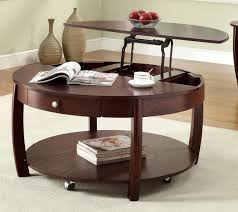 Image of: Round Coffee Table with Wheels