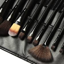 professional 15 pcs brand m cosmetics makeup brushes tool make up brushes leather bag holder travel bag in math sets from office