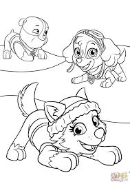 Everest Plays With Skye And Rubble Coloring Page In Skye Paw Patrol