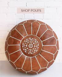 moroccan pouf in tan leather