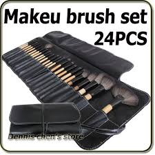 24 pieces professional black makeup brush set cosmetic make up brushes kit with pouch bag free