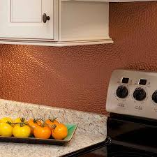 Kitchen Backsplash Panel Backsplash Kit Hammered In Argent Copper
